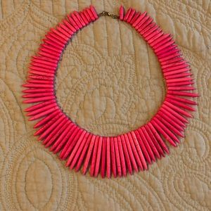 Hot pink spiked collar necklace